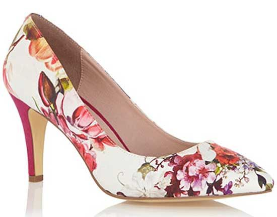 Oasis floral print mid heel court shoes | Canada, Shoes and Pink