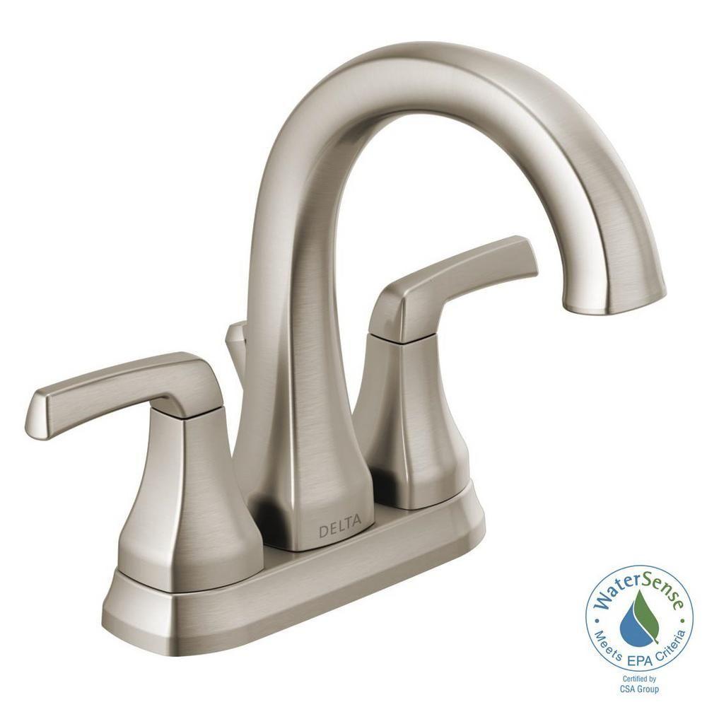 Delta Portwood 4 In Centerset 2 Handle Bathroom Faucet In Spotshield Brushed Nickel 25770lf Sp In 2020 Bathroom Faucets Widespread Bathroom Faucet Modern Bathroom Faucets