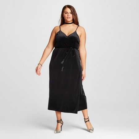 Women 39 S Plus Size Velvet Wrap Slip Dress Who What Wear Target Slip Dress Dresses Black Dress
