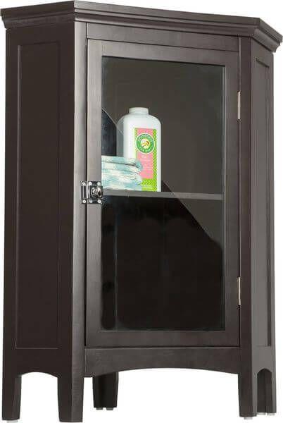Elegant Home Fashions Madison Avenue Corner Floor Cabinet Dark Espresso Almacenamiento En El Baño