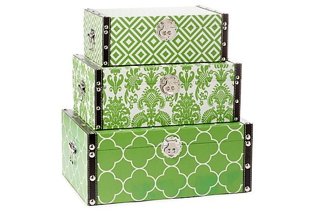 One Kings Lane - Three Essential Accents - Green Design Storage Boxes Asst. of  sc 1 st  Pinterest & One Kings Lane - Three Essential Accents - Green Design Storage ...