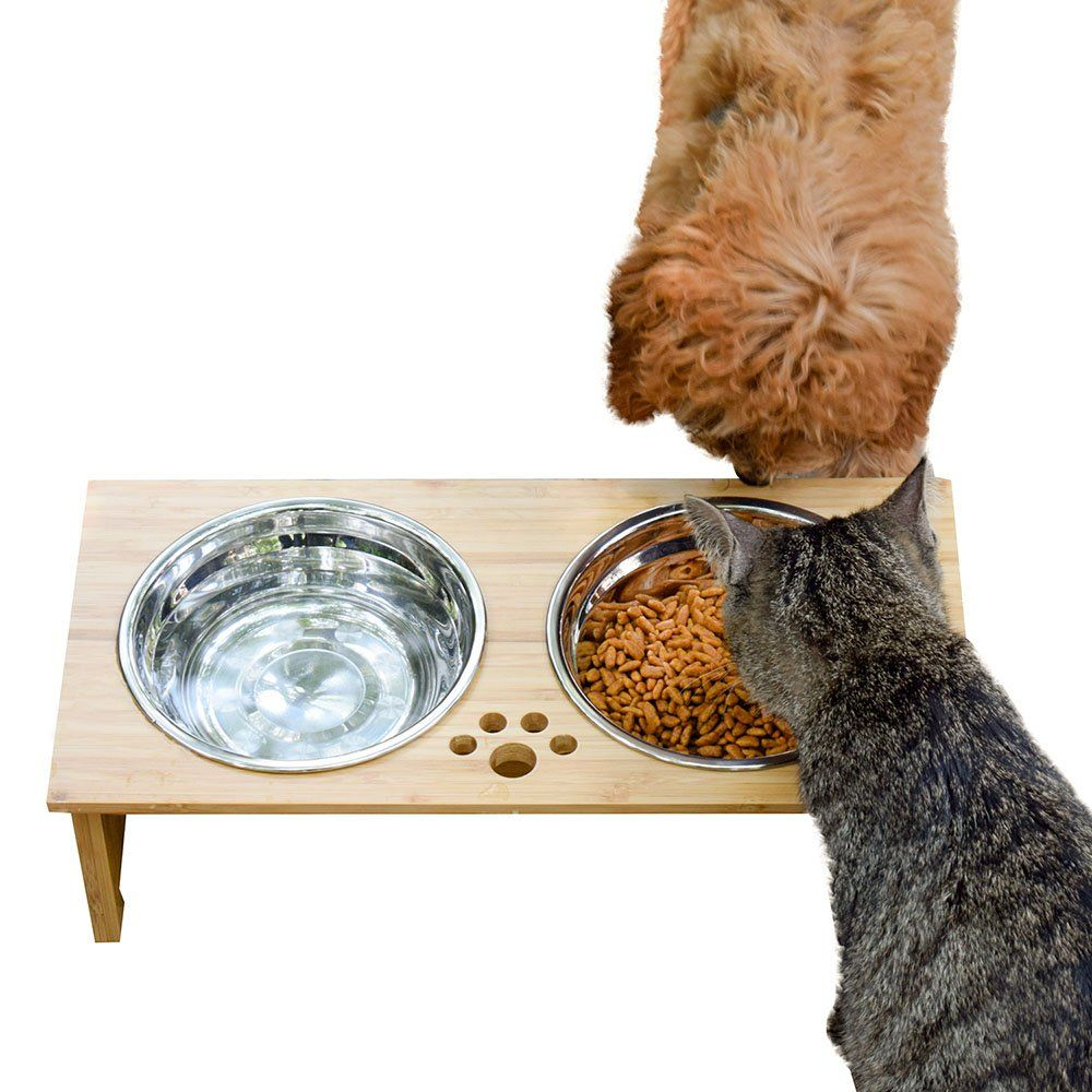 Foreyy raised pet bowls for cats and small dogs bamboo