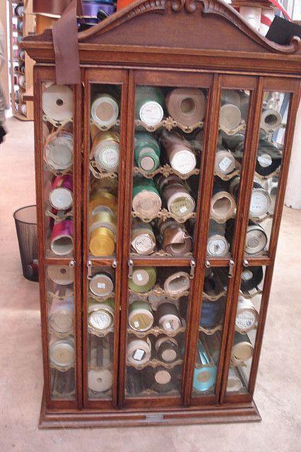 Vintage ribbon filling up a Vintage Ribbon Cabinet - Vintage Ribbon Cabinet VINTAGE ~ RiBBoN, LaCe & MiLLiNeRy
