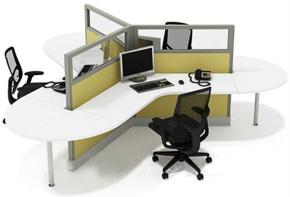 Open Floor Plan Office Furniture: Modular Workstations With 120-degree Curves To Accommodate