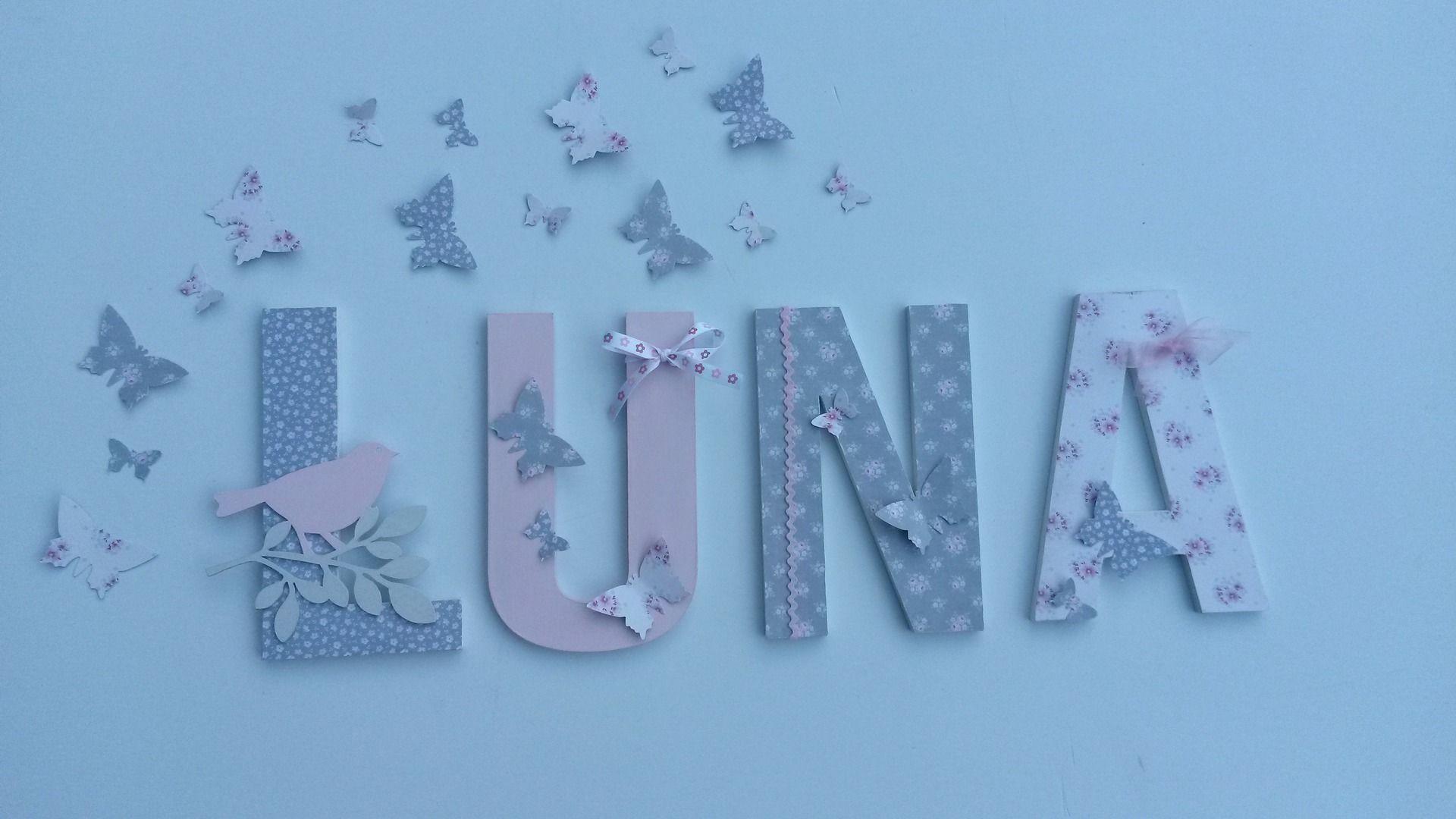 Prenom Lettres Bois Grandes Tailles Luna Theme Liberty Tilda Rose Et Gris Sur Commande Decoration Pour Enfants Par Joli Letter Wall Art Letter Wall Lettering