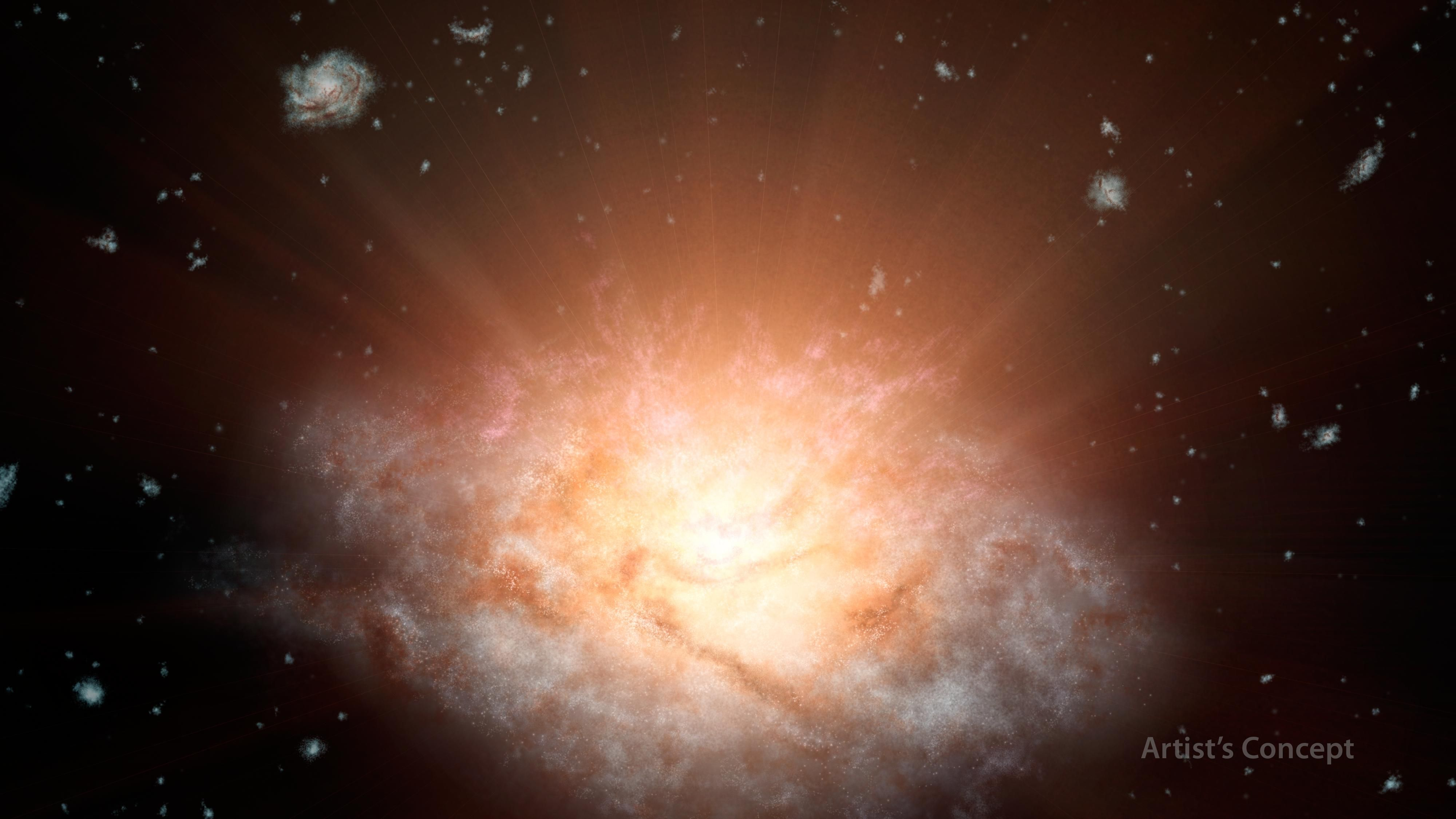 A newfound galaxy 12.5 billion light-years from Earth is the most luminous one known in the universe, blazing more brightly than 300 trillion suns. The engine behind the galaxy's brilliance may be a supermassive black hole, researchers said.