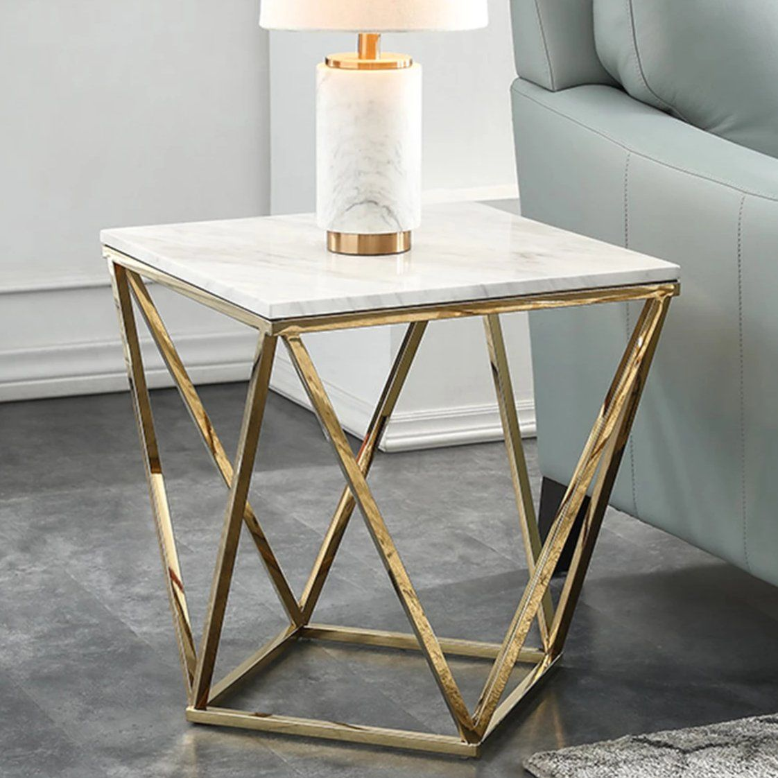 Marble Square End Table Side Table White Gold Marble Square White Side Tables Glass End Tables