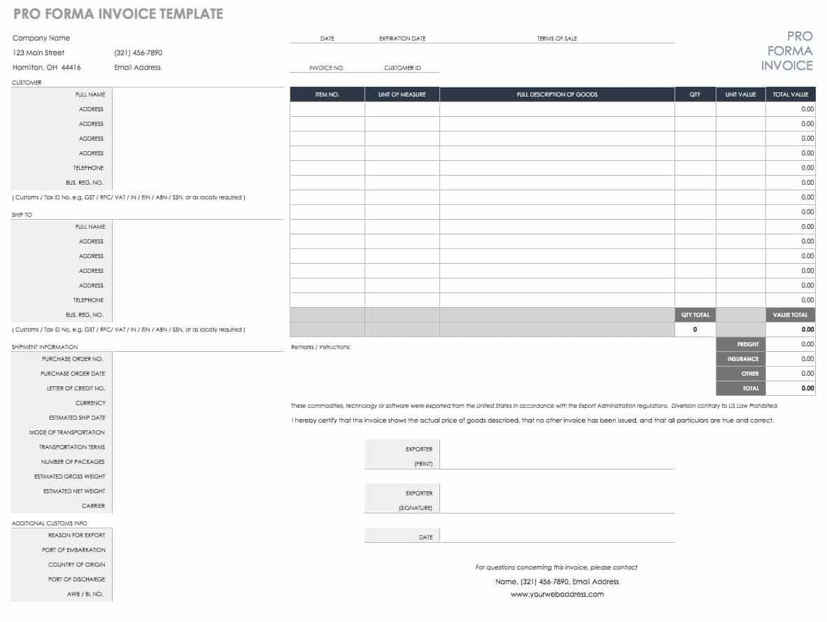 Free Excel Invoice Templates Smartsheet Inside Invoice Template