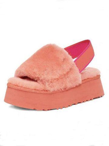 Photo of Women's Large Size Peep Toe Winter Plush Slippers