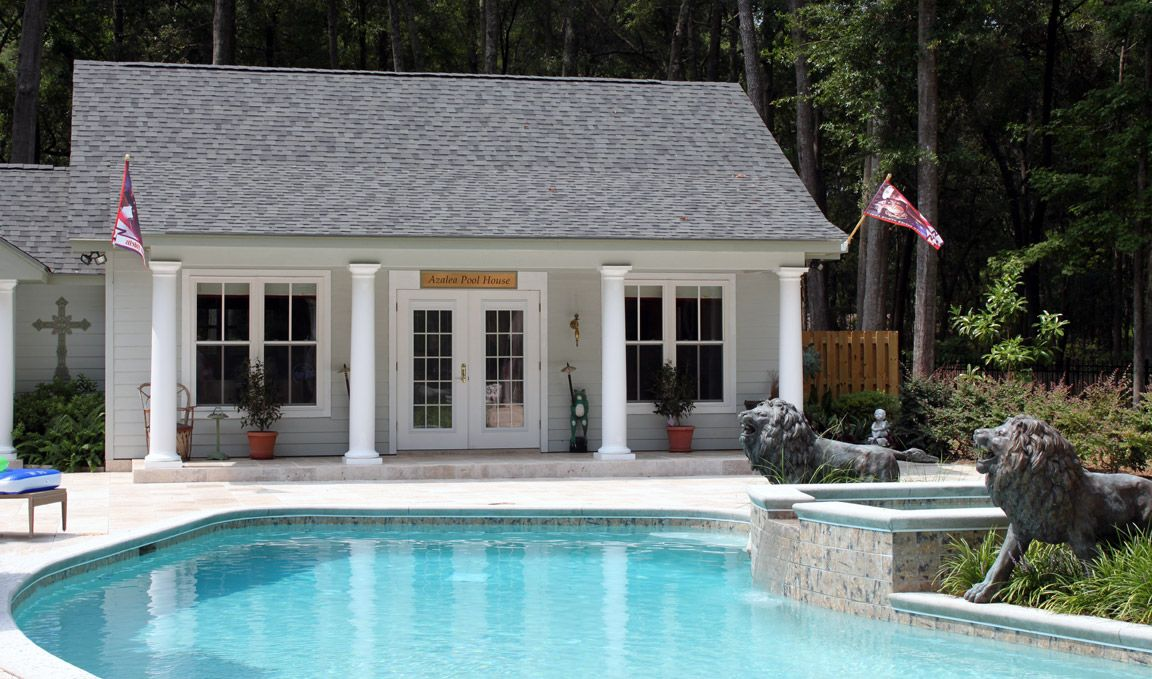 Images of pool houses the azalea pool house was a three Pool house plans with bar