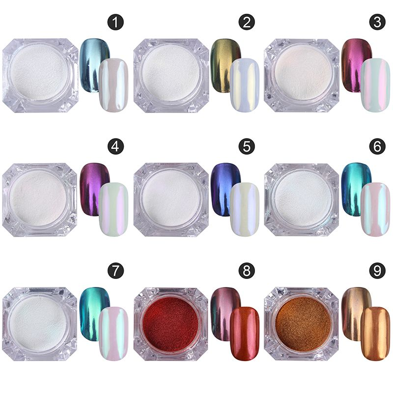 9pcs Born Pretty Mirror Nail Glitter Set Gold Blue Purple Nail Art