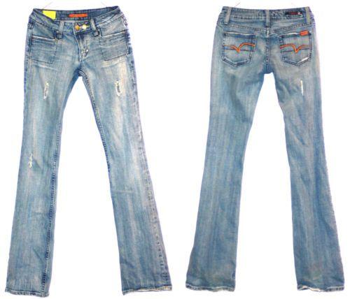 VIGOSS Brand JEANS Distressed Skinny Flare, SZ 1/2 Low Rise