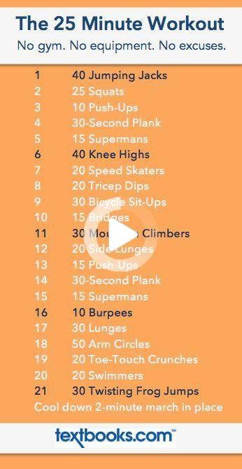Get into shape with this quick 25 minute dorm room workout - perfect for getting in exercise at home...