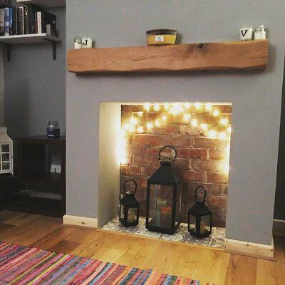 Photo of Details about Oak Beam Mantle Fireplace Mantelpiece Lintel Air Dried Shelf Brackets & Oils
