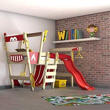 WICKEY Hochbett mit Rutsche CrAzY Smoky Kinderbett 90 x