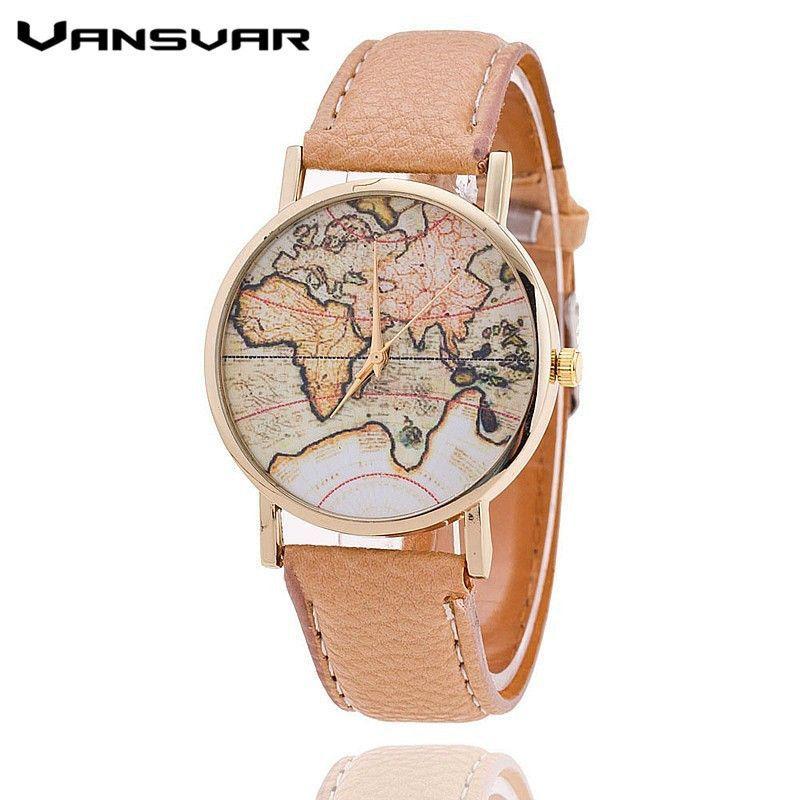 bea69cc858c Vansvar Brand Fashion World Map Watch Women Casual Leather Strap Quartz  Watches Montre Femme Relogio Feminino