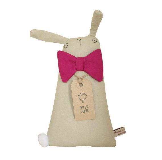 Stuffed Bunny Bunny Plush Doll Pink Bow Tie Bunny Softie by poosac