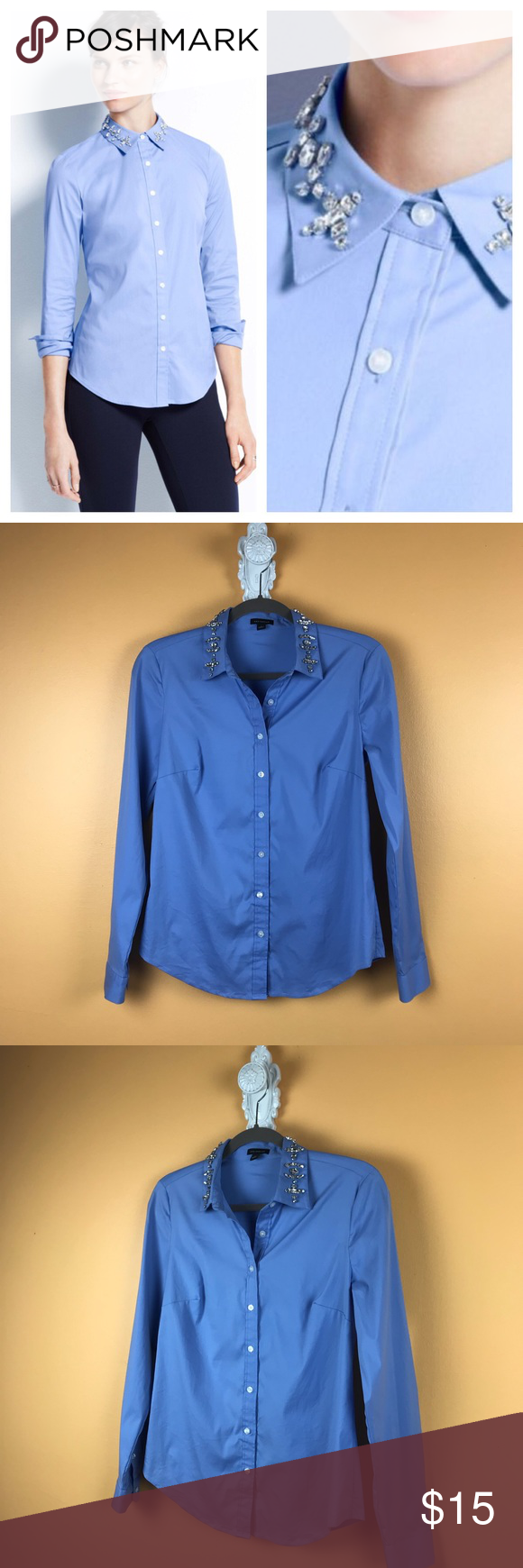 3eec1038 Ann Taylor Jeweled Collar Shirt Blue Periwinkle colored long sleeve button  down shirt with jewel embellished