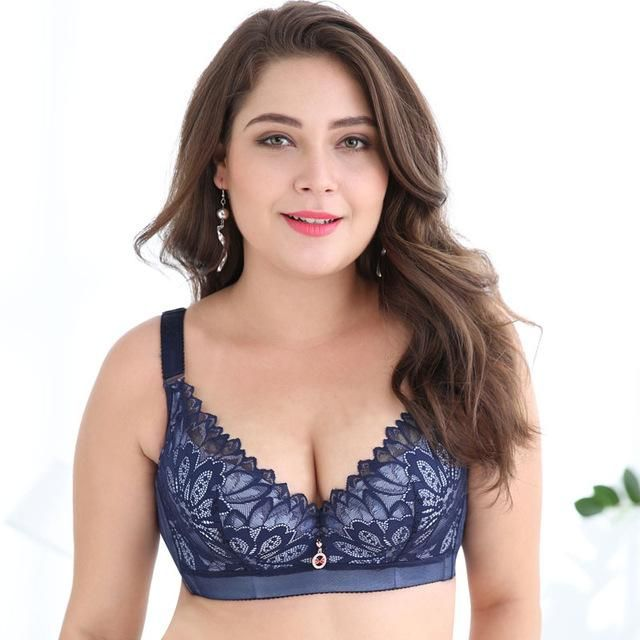 ea940edcac Plus Size Bras D DD cup Push Up Lace Brassiere for Women Underwire Lace Bras  for Large Cups White black Red