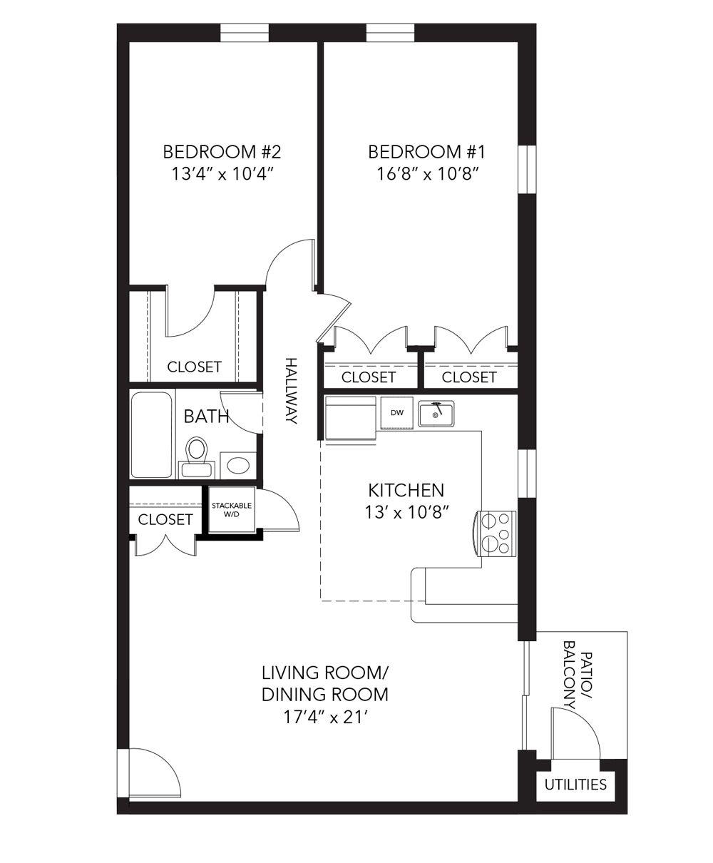 Marshall Floor Plan 2 Bed 1 Bath 890 Sq Ft Corner