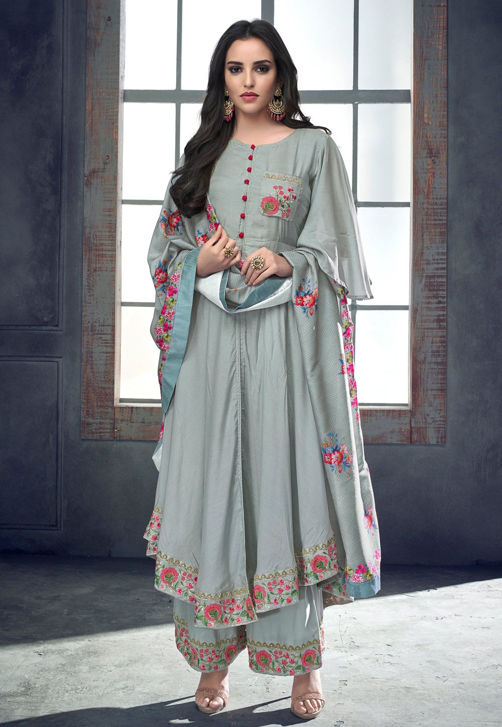 Buy Gray Cotton Readymade Pakistani Style Suit 157591 Online At Lowest Price From Huge Collection Of Sal Pakistani Kurti Designs Pakistani Dress Design Fashion