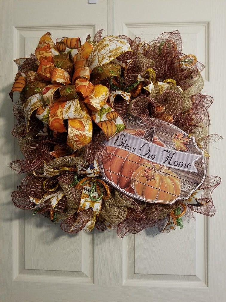"24"" square wreath   Fall thanksgiving wreaths, Fall ..."