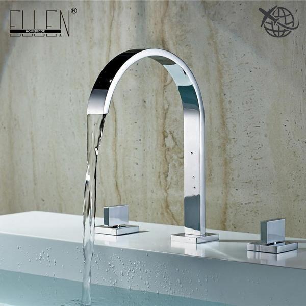 Double Handle Bathroom Taps Square Bathroom Faucets 3-hole ...