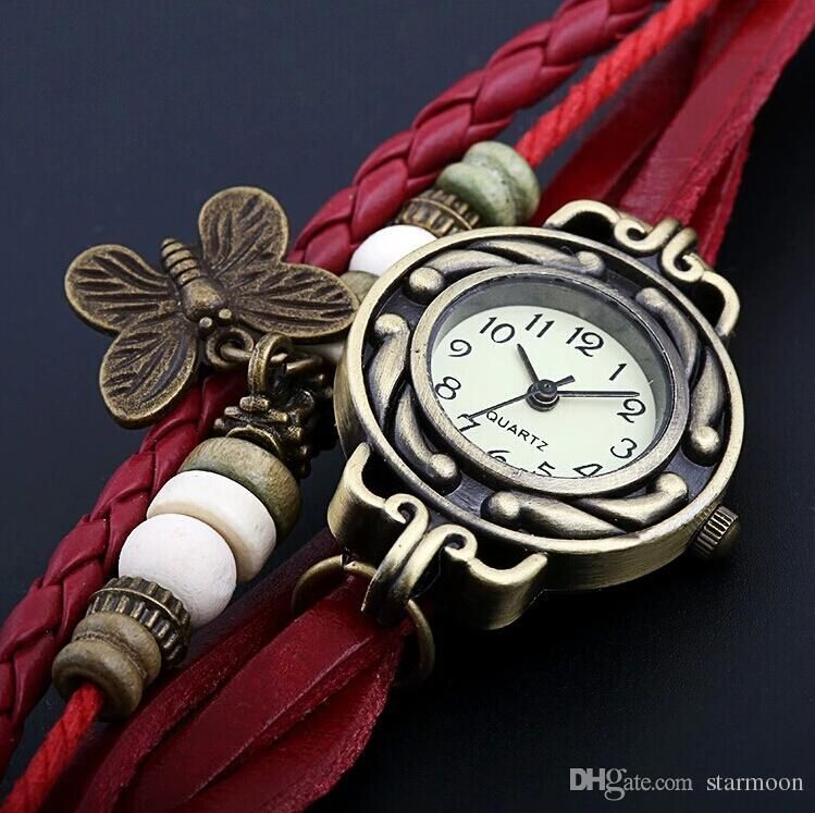7 types Leather Vintage Watches bracelet Retro Quartz Weave Wrap ...