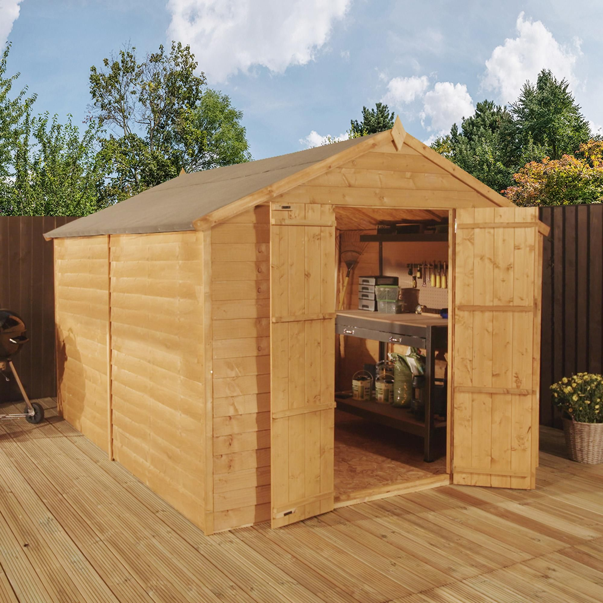 Winchester Natural 8x12ft Wooden Overlap Apex Shed Shed Wooden Sheds Apex Shed