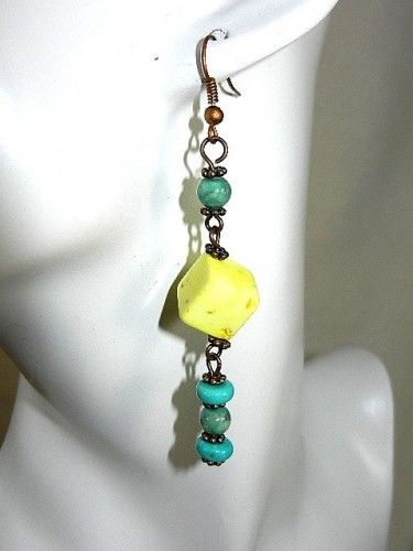 Square Yellow Turquoise Bead and Blue Turquoise Earrings