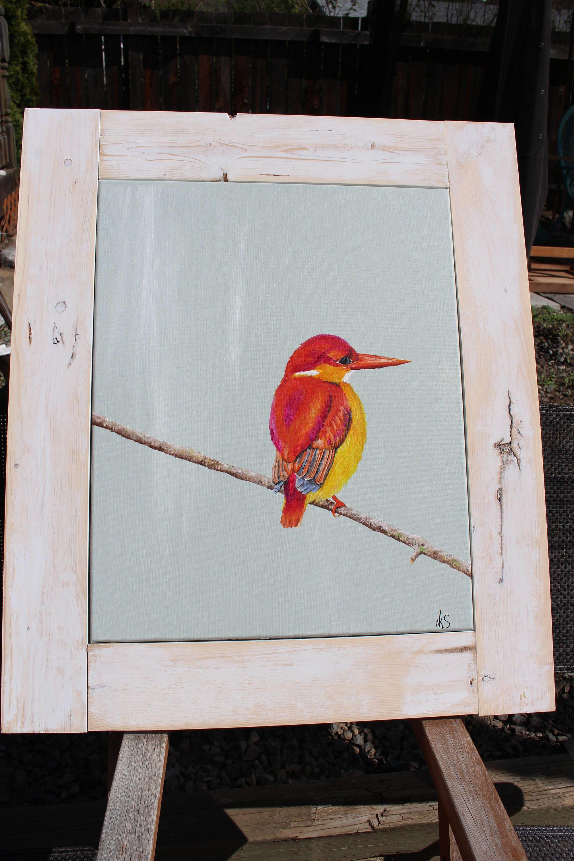 SOLD Orange Kingfisher bird rustic acrylic paint, wall art framed ...