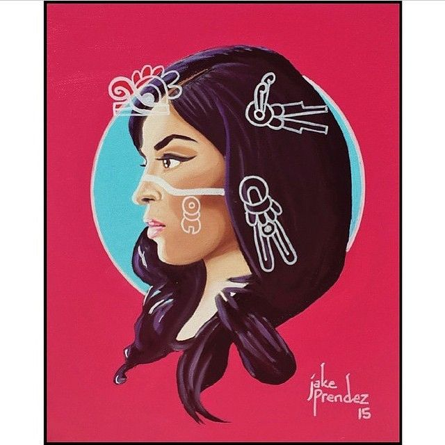 """A painting series called """"Cultural Resiliance: We Still Exist"""". The series is about exploring our roots and the way we look at ourselves, the ways in which our indigenous culture has survived. It is in our cooking, our mannerisms, our language, our beliefs in the ways we embrace our elders and children. We never left, we are not an extinct people. Look into our eyes do you see 1491? We are still here and we maintain and create culture everyday"""""""