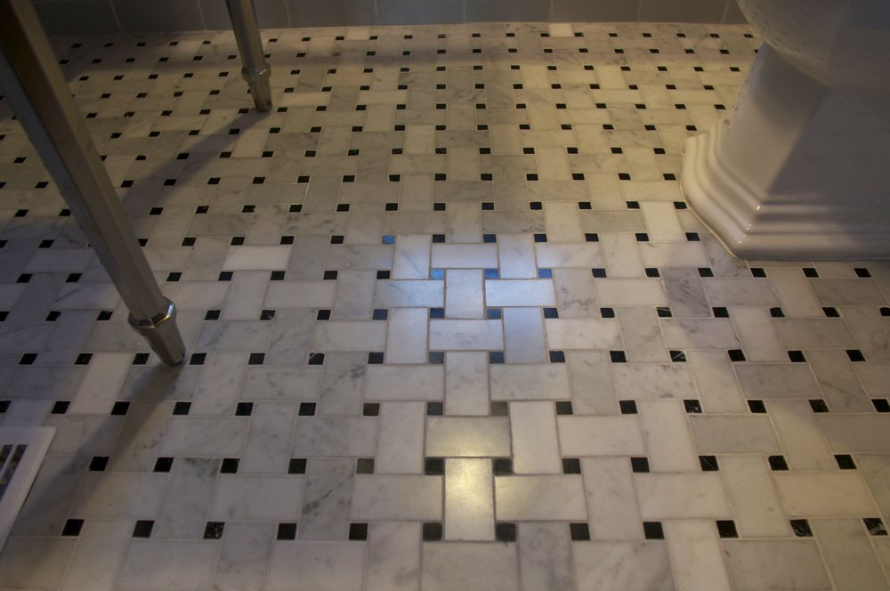 Bathrooms With Basket Weave Tile Floor Was Natural For A Busier Tile Pattern Like This Marble Basket Weav White Tile Floor Flooring Black And White Tiles