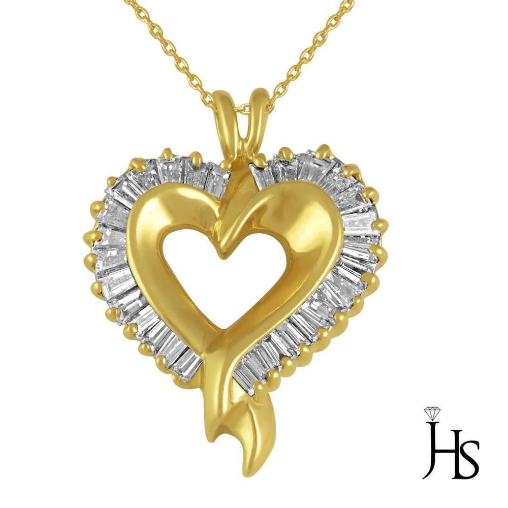 Womenus K Yellow Gold Cts Diamonds Heart Shape Pendant