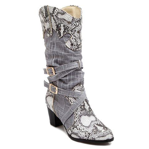 Women'S Trendy And Buckles Mid Calf Shoes Snake Print