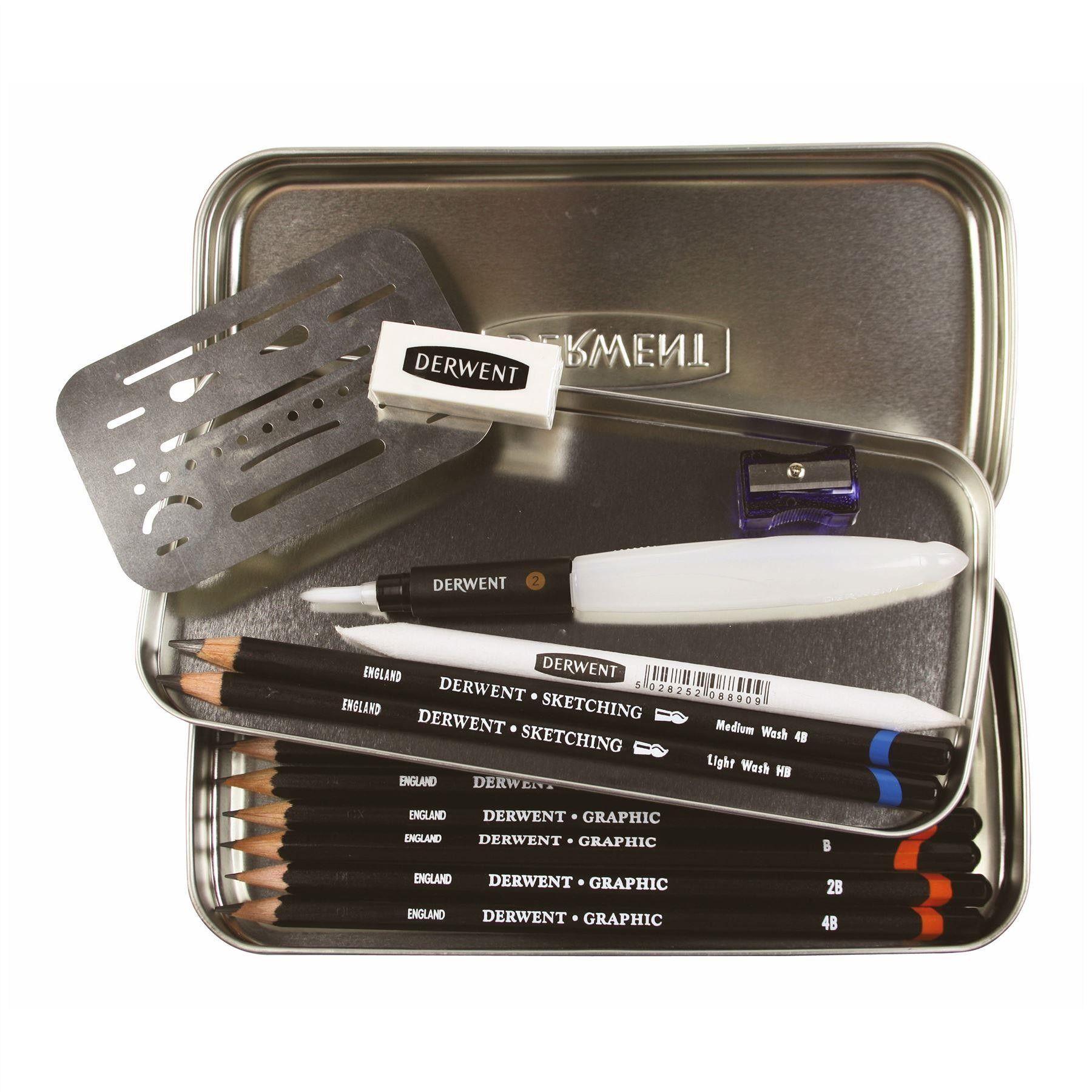 Derwent Professional Art Graphic HB /& 2B Pencils /& 2 in 1 Sharpener /& Eraser Set