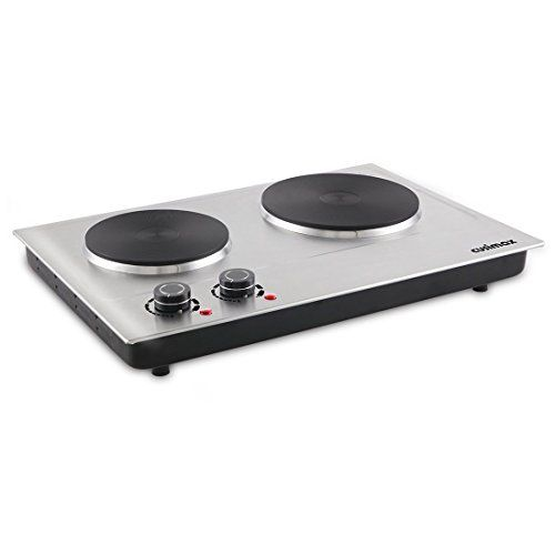 Cusimax 1800w Double Hot Plate Stainless Countertop Burner Silver Portable Electric Cooktop Cmhp C180 Hot