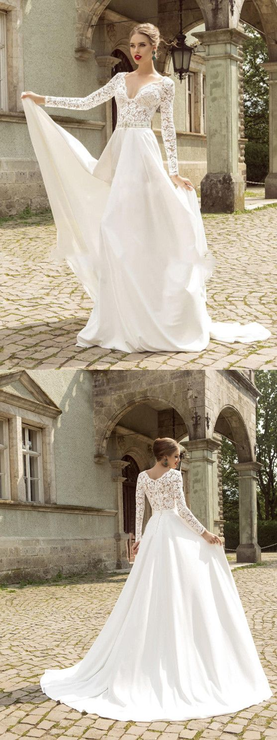 Aline vneck sweepbrush train long sleeve wedding dress vb in