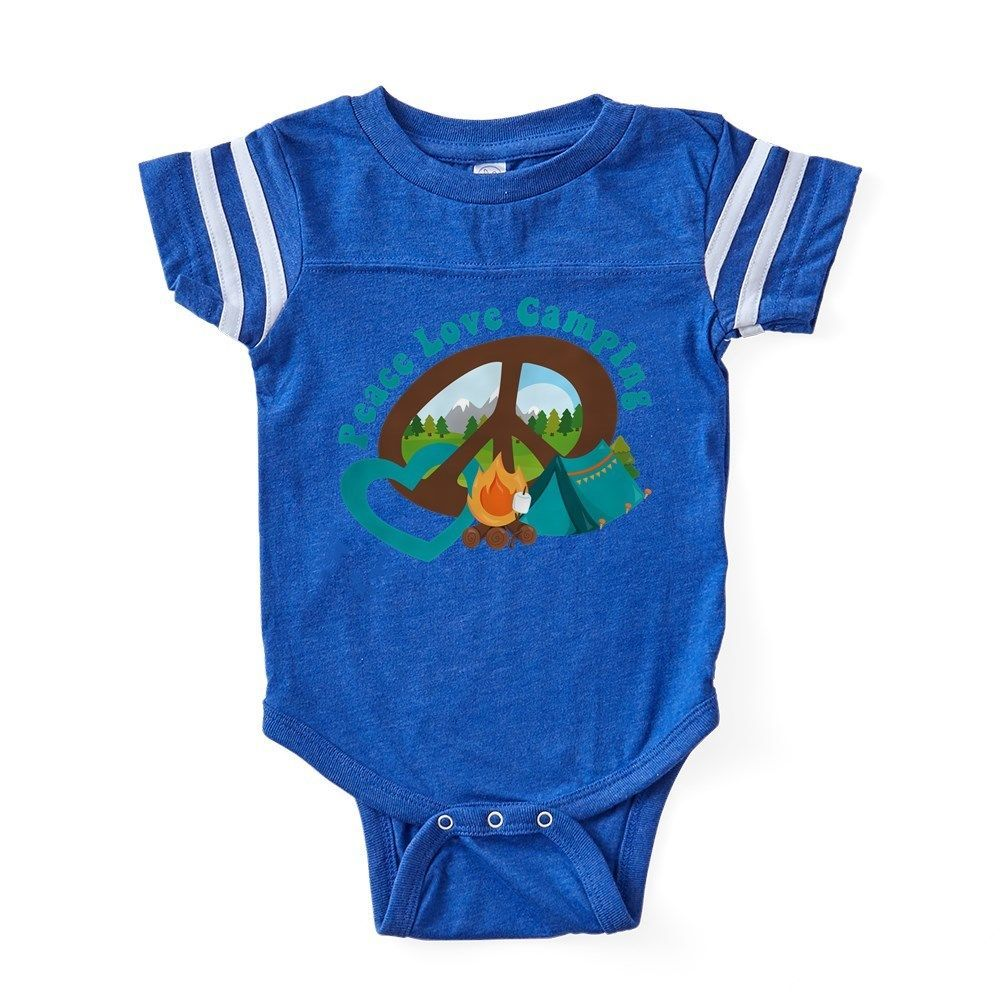 977ec8ca959 CafePress Peace Love Camping Baby Football Bodysuit (302901744)  fashion   clothing  shoes
