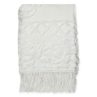Coastal Life Medallion Chenille Throw Blanket In White