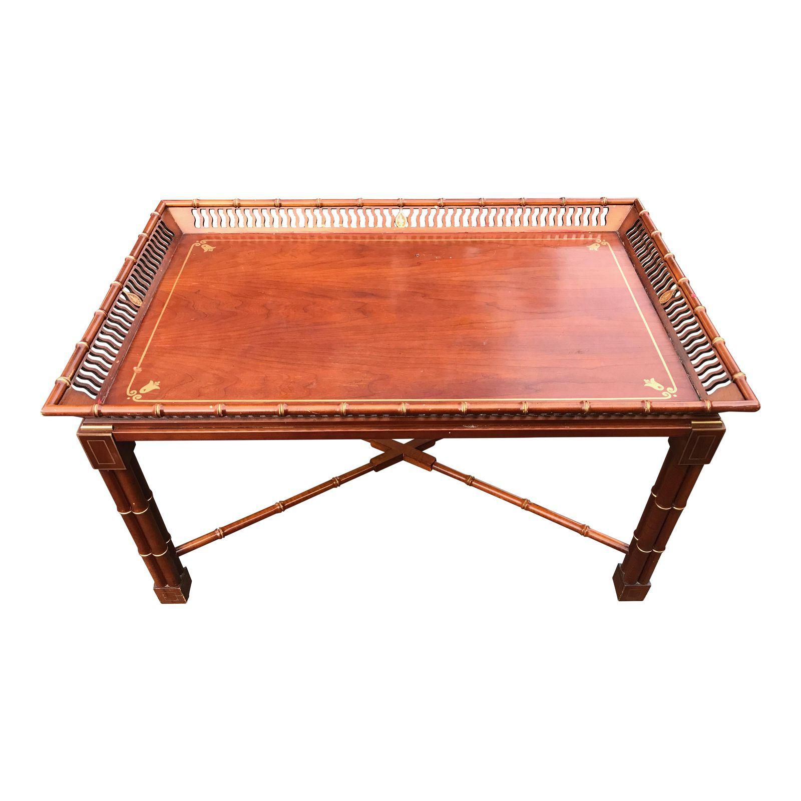 Mario Buatta for John Widdi b Faux Bamboo Coffee table