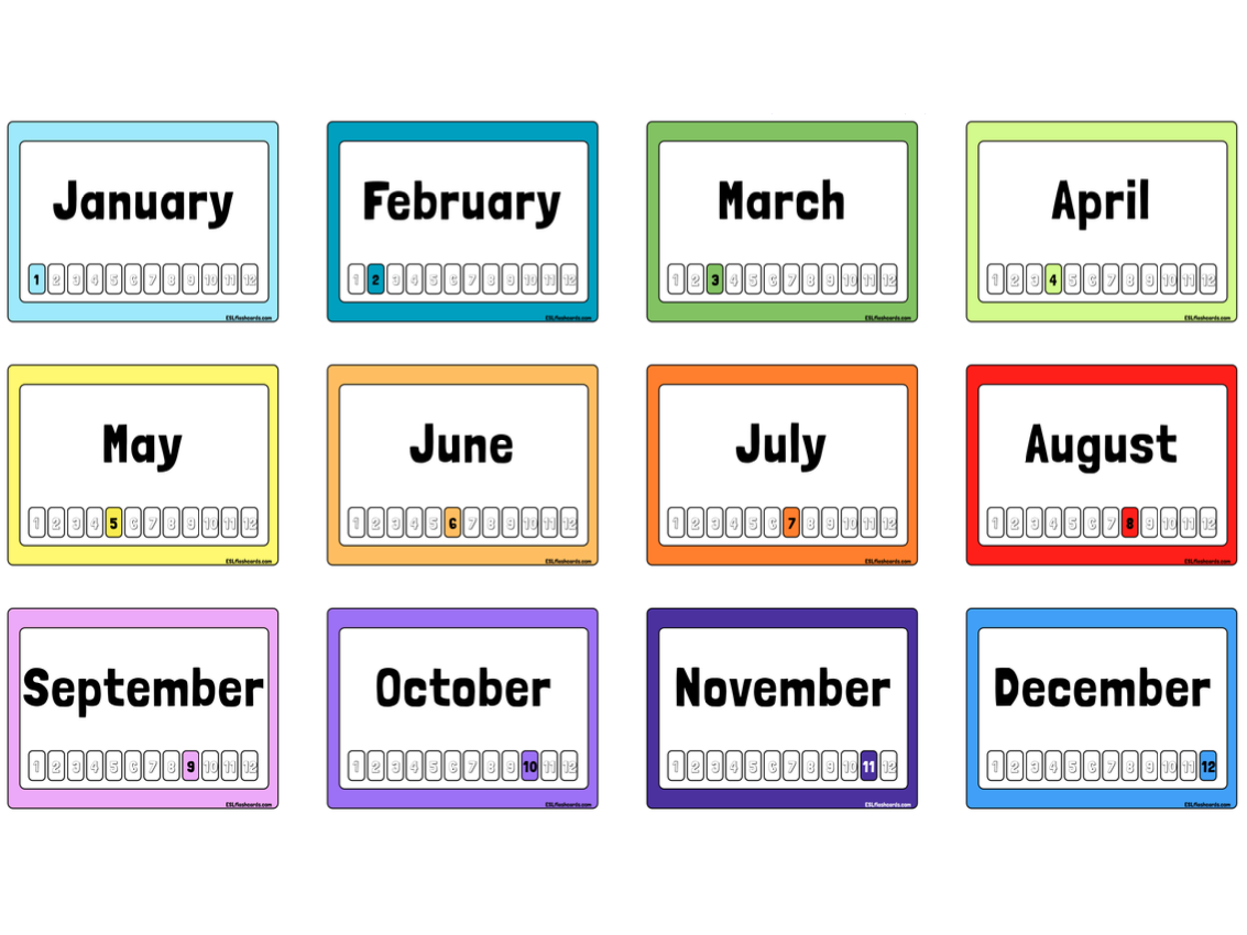 Months of the Year Flashcards | Flashcards, Printable flash cards