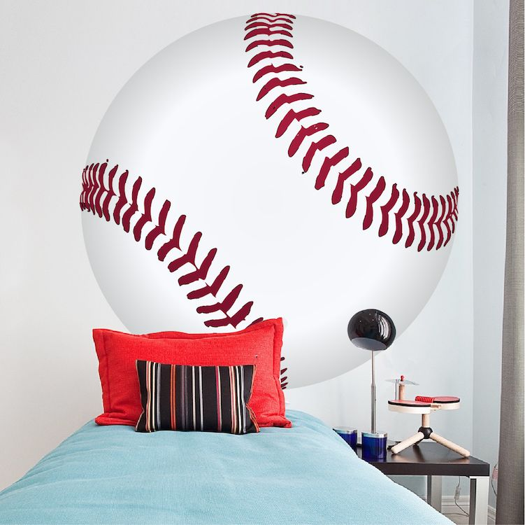 Large Baseball Wallpaper Decal   Boys Baseball Wall Sticker   Baseball  Monogram   Baseball Wall Graphic