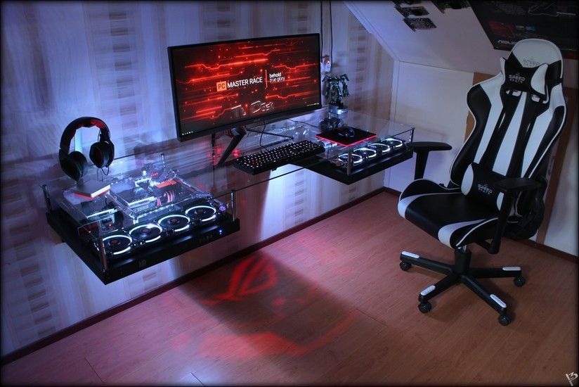 gaming room computer desk mod watercooled pc thermaltake core p5 riing fans pc tisch