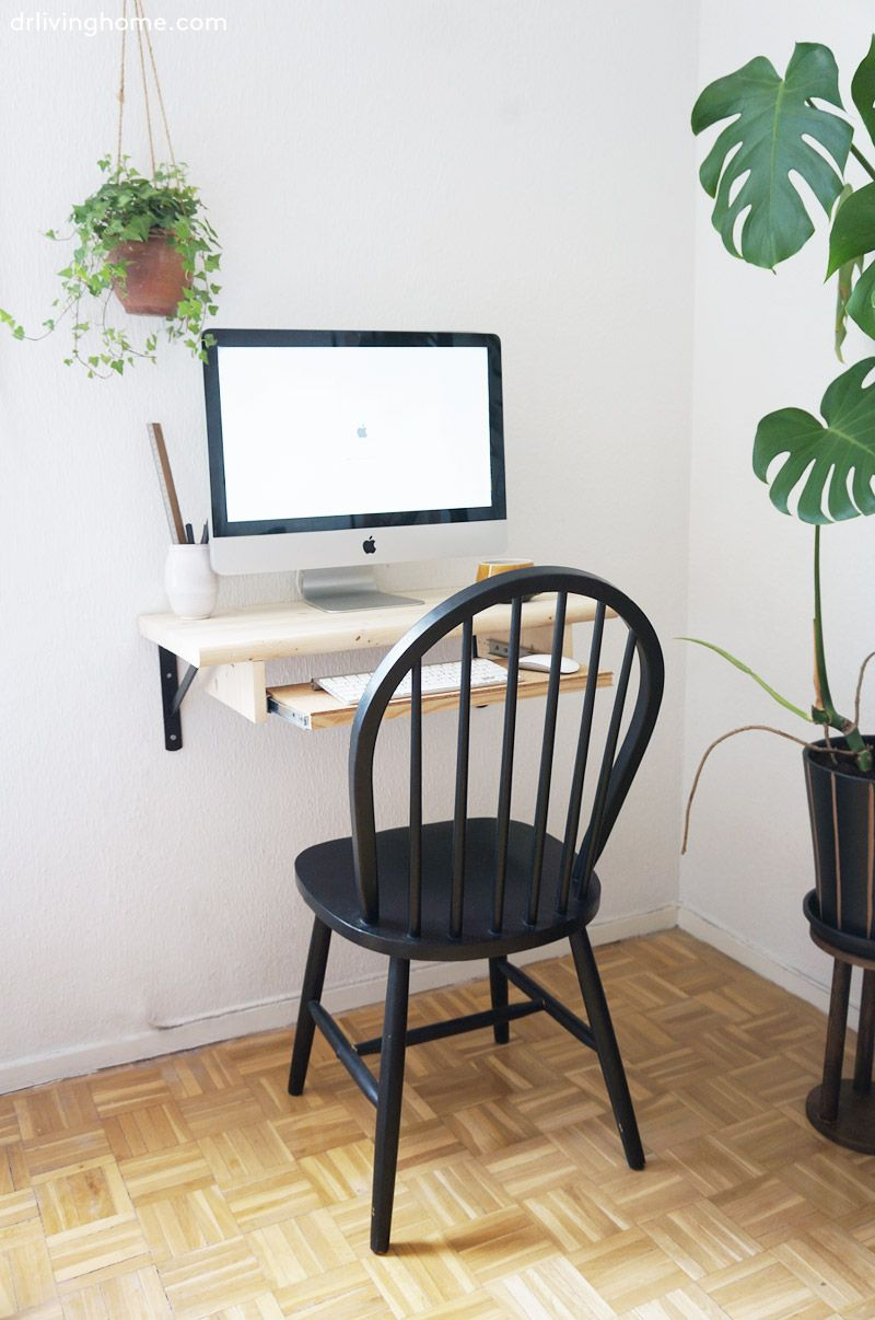 wall mounted computer desk, keyboard shelf, home office, small space ...
