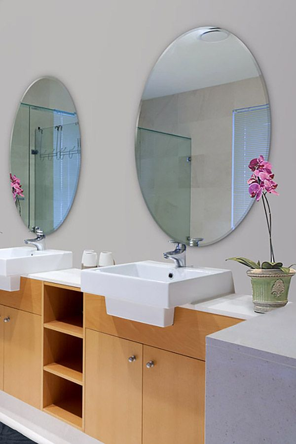 Modern Frameless Oval Mirrors Come In A Variety Of Sizes And Edging This Style Is