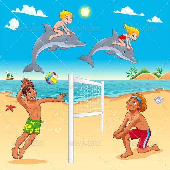 funny summer scene with dolphins and beachvolley funny summer rh pinterest ca Cartoon Beach Scene with Drinks cartoon beach scenes pictures