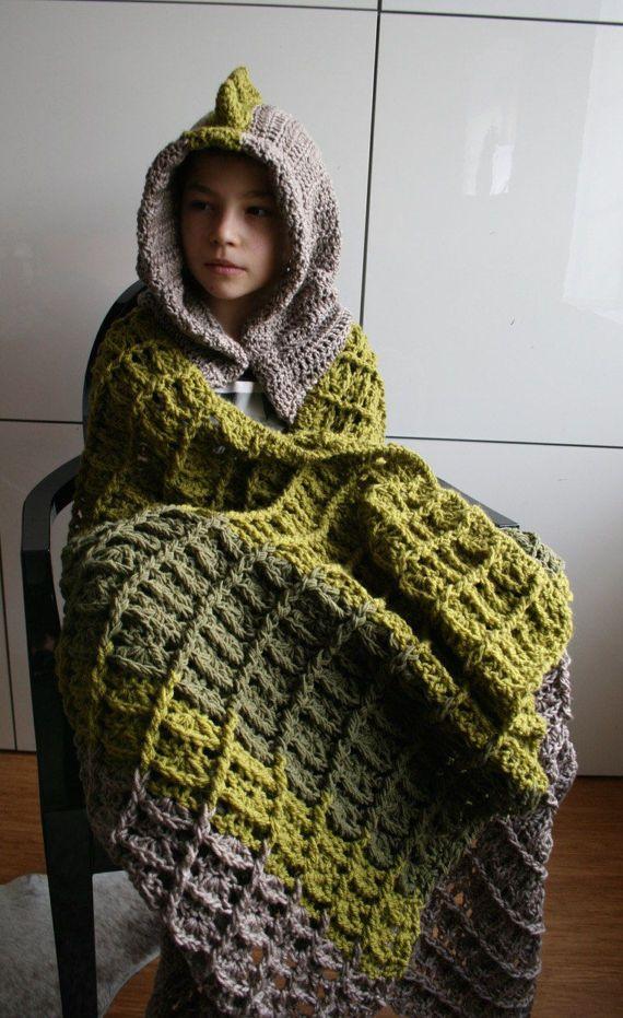 Dinosaur Blanket Crochet Pattern Dino Hooded Blanket Crochet