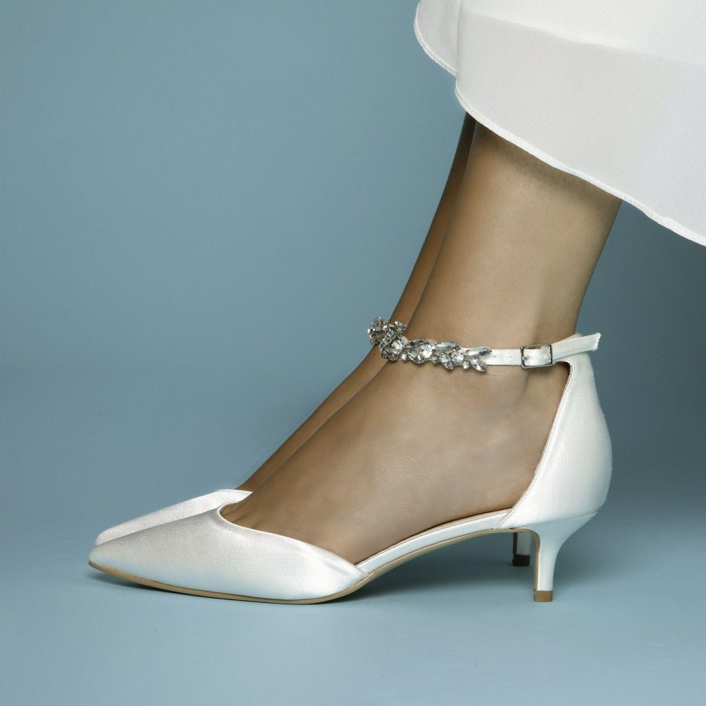 Perfect Bridal Eliza Ivory Satin Embellished Ankle Strap Kitten Heels In 2020 Bridal Shoes Low Heel Kitten Heel Wedding Shoes Kitten Heels Wedding