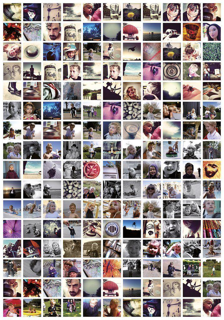 Instagram Plakat med 176 billeder, 70x100cm med hvid baggrund